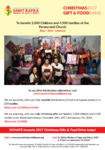 CHRISTMAS 2017 GIFT & FOODDRIVE – To benefit 2,000 Children and 4,500 families of the  Persecuted Church